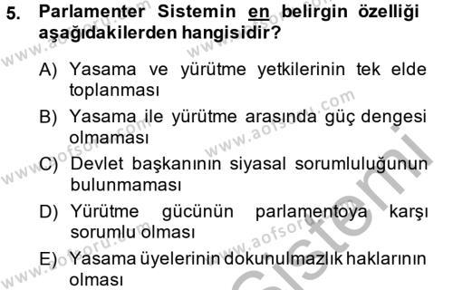 Tarih Bölümü 6. Yarıyıl Türkiye'de Demokrasi Ve Parlemento Tarihi Dersi 2014 Yılı Bahar Dönemi Ara Sınavı 5. Soru