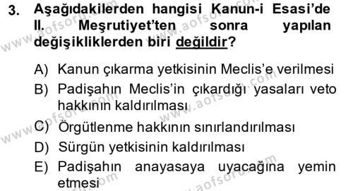 Tarih Bölümü 6. Yarıyıl Türkiye'de Demokrasi Ve Parlemento Tarihi Dersi 2014 Yılı Bahar Dönemi Dönem Sonu Sınavı 3. Soru
