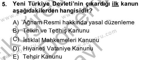 Tarih Bölümü 6. Yarıyıl Türkiye'de Demokrasi Ve Parlemento Tarihi Dersi 2014 Yılı Bahar Dönemi Dönem Sonu Sınavı 5. Soru