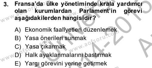 Tarih Bölümü 6. Yarıyıl Türkiye'de Demokrasi Ve Parlemento Tarihi Dersi 2015 Yılı Bahar Dönemi Ara Sınavı 3. Soru