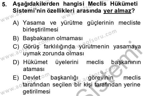 Tarih Bölümü 6. Yarıyıl Türkiye'de Demokrasi Ve Parlemento Tarihi Dersi 2015 Yılı Bahar Dönemi Ara Sınavı 5. Soru