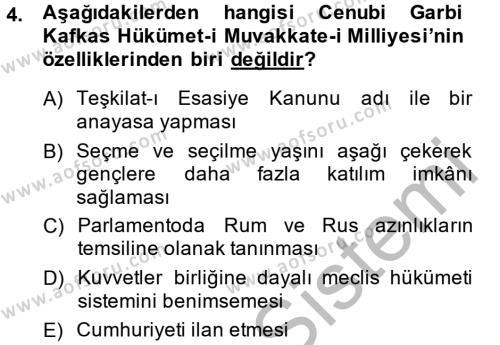 Türkiye´de Demokrasi Ve Parlemento Tarihi Dersi 2014 - 2015 Yılı (Final) Dönem Sonu Sınav Soruları 4. Soru