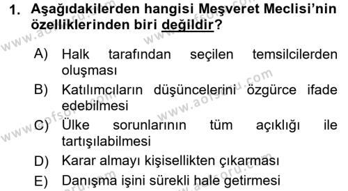 Türkiye´de Demokrasi Ve Parlemento Tarihi Dersi 2015 - 2016 Yılı (Vize) Ara Sınav Soruları 1. Soru