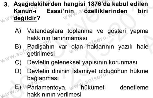 Türkiye´de Demokrasi Ve Parlemento Tarihi Dersi 2015 - 2016 Yılı (Vize) Ara Sınav Soruları 3. Soru