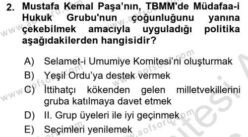 Tarih Bölümü 6. Yarıyıl Türkiye'de Demokrasi Ve Parlemento Tarihi Dersi 2016 Yılı Bahar Dönemi Dönem Sonu Sınavı 2. Soru