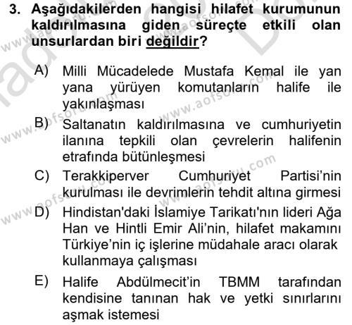 Tarih Bölümü 6. Yarıyıl Türkiye'de Demokrasi Ve Parlemento Tarihi Dersi 2016 Yılı Bahar Dönemi Dönem Sonu Sınavı 3. Soru
