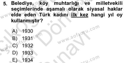 Tarih Bölümü 6. Yarıyıl Türkiye'de Demokrasi Ve Parlemento Tarihi Dersi 2016 Yılı Bahar Dönemi Dönem Sonu Sınavı 5. Soru