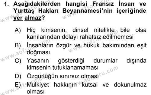 Türkiye´de Demokrasi Ve Parlemento Tarihi Dersi 2016 - 2017 Yılı (Vize) Ara Sınav Soruları 1. Soru