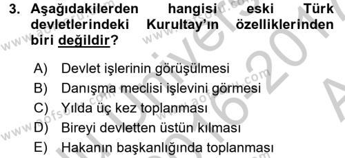 Türkiye´de Demokrasi Ve Parlemento Tarihi Dersi 2016 - 2017 Yılı (Vize) Ara Sınav Soruları 3. Soru