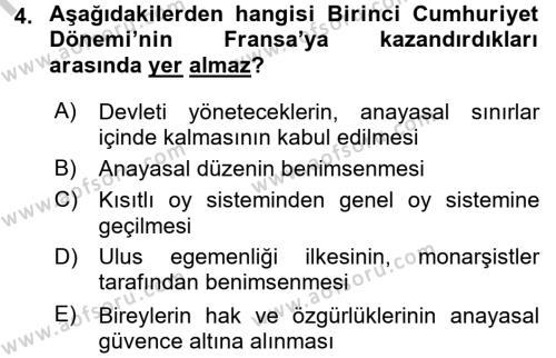Türkiye´de Demokrasi Ve Parlemento Tarihi Dersi 2016 - 2017 Yılı (Vize) Ara Sınav Soruları 4. Soru