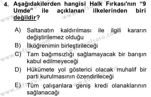 Türkiye´de Demokrasi Ve Parlemento Tarihi Dersi 2017 - 2018 Yılı 3 Ders Sınavı 4. Soru