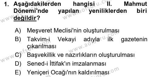 Türkiye´de Demokrasi Ve Parlemento Tarihi Dersi 2017 - 2018 Yılı Ara Sınavı 1. Soru