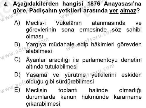 Türkiye´de Demokrasi Ve Parlemento Tarihi Dersi 2017 - 2018 Yılı Ara Sınavı 4. Soru