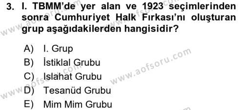 Türkiye´de Demokrasi Ve Parlemento Tarihi Dersi Dönem Sonu Sınavı Deneme Sınav Soruları 3. Soru