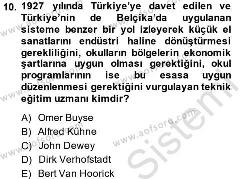 Türk Eğitim Tarihi Dersi Tek Ders Sınavı Deneme Sınav Soruları 10. Soru