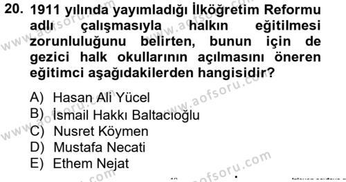 Türk Eğitim Tarihi Dersi Tek Ders Sınavı Deneme Sınav Soruları 20. Soru