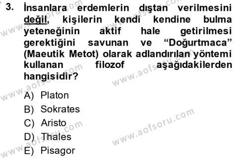 Tarih Bölümü 6. Yarıyıl Eğitim Tarihi Dersi 2014 Yılı Bahar Dönemi Ara Sınavı 3. Soru