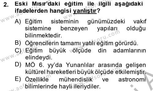 Tarih Bölümü 6. Yarıyıl Eğitim Tarihi Dersi 2014 Yılı Bahar Dönemi Dönem Sonu Sınavı 2. Soru