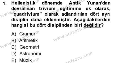Eğitim Tarihi Dersi 2014 - 2015 Yılı Ara Sınavı 1. Soru