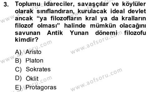 Eğitim Tarihi Dersi 2014 - 2015 Yılı Ara Sınavı 3. Soru