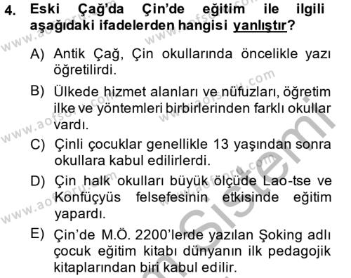 Tarih Bölümü 6. Yarıyıl Eğitim Tarihi Dersi 2015 Yılı Bahar Dönemi Ara Sınavı 4. Soru