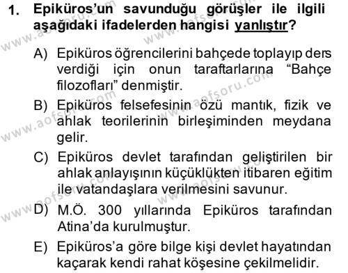 Eğitim Tarihi Dersi 2014 - 2015 Yılı Dönem Sonu Sınavı 1. Soru