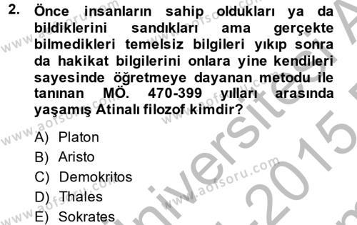 Tarih Bölümü 6. Yarıyıl Eğitim Tarihi Dersi 2015 Yılı Bahar Dönemi Dönem Sonu Sınavı 2. Soru