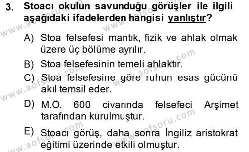 Tarih Bölümü 6. Yarıyıl Eğitim Tarihi Dersi 2015 Yılı Bahar Dönemi Dönem Sonu Sınavı 3. Soru