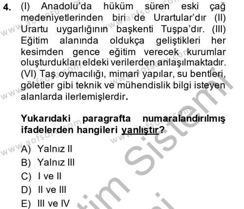 Eğitim Tarihi Dersi 2014 - 2015 Yılı Dönem Sonu Sınavı 4. Soru