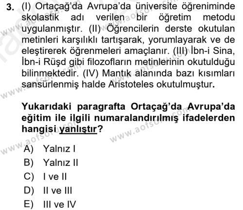 Eğitim Tarihi Dersi 2015 - 2016 Yılı (Vize) Ara Sınav Soruları 3. Soru