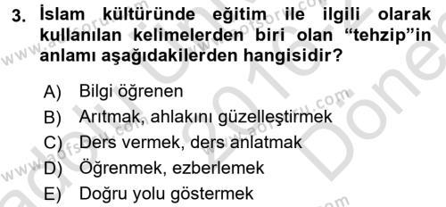 Eğitim Tarihi Dersi 2016 - 2017 Yılı (Final) Dönem Sonu Sınav Soruları 3. Soru