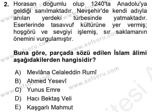 Eğitim Tarihi Dersi 2017 - 2018 Yılı (Final) Dönem Sonu Sınav Soruları 2. Soru