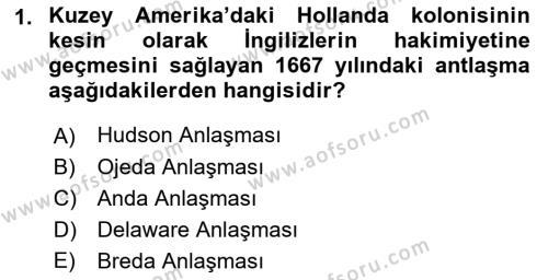 Sömürgecilik Tarihi (Afrika-Asya) Dersi Dönem Sonu Sınavı Deneme Sınav Soruları 1. Soru