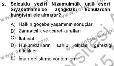 Tarih Bölümü 8. Yarıyıl Türk Kültür Tarihi Dersi 2015 Yılı Bahar Dönemi Ara Sınavı 2. Soru