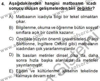 Tarih Bölümü 8. Yarıyıl Türk Kültür Tarihi Dersi 2015 Yılı Bahar Dönemi Ara Sınavı 4. Soru