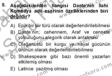 Tarih Bölümü 8. Yarıyıl Türk Kültür Tarihi Dersi 2015 Yılı Bahar Dönemi Ara Sınavı 5. Soru
