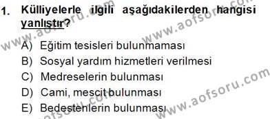 Tarih Bölümü 8. Yarıyıl Türk Kültür Tarihi Dersi 2015 Yılı Bahar Dönemi Dönem Sonu Sınavı 1. Soru