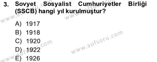 Tarih Bölümü 7. Yarıyıl Çağdaş Türk Dünyası Dersi 2015 Yılı Güz Dönemi Ara Sınavı 3. Soru