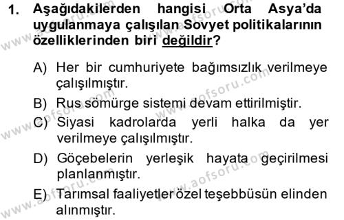 Tarih Bölümü 7. Yarıyıl Çağdaş Türk Dünyası Dersi 2015 Yılı Güz Dönemi Dönem Sonu Sınavı 1. Soru
