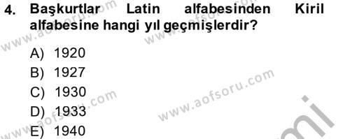 Tarih Bölümü 7. Yarıyıl Çağdaş Türk Dünyası Dersi 2015 Yılı Güz Dönemi Dönem Sonu Sınavı 4. Soru