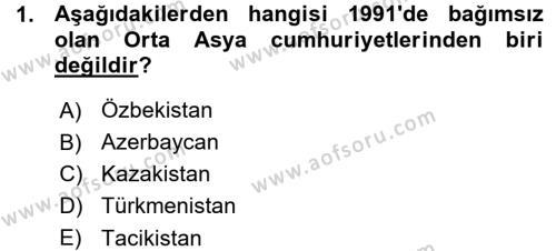 Tarih Bölümü 7. Yarıyıl Çağdaş Türk Dünyası Dersi 2016 Yılı Güz Dönemi Ara Sınavı 1. Soru