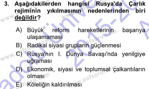 Tarih Bölümü 7. Yarıyıl Çağdaş Türk Dünyası Dersi 2016 Yılı Güz Dönemi Ara Sınavı 3. Soru