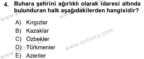 Tarih Bölümü 7. Yarıyıl Çağdaş Türk Dünyası Dersi 2016 Yılı Güz Dönemi Ara Sınavı 4. Soru
