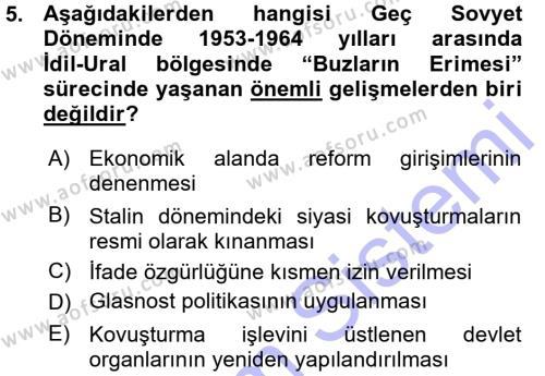 Tarih Bölümü 7. Yarıyıl Çağdaş Türk Dünyası Dersi 2016 Yılı Güz Dönemi Ara Sınavı 5. Soru