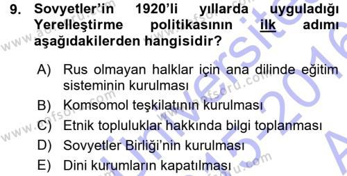 Çağdaş Türk Dünyası Dersi Ara Sınavı Deneme Sınav Soruları 9. Soru