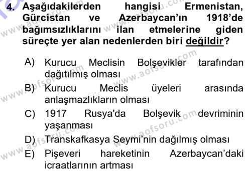 Tarih Bölümü 7. Yarıyıl Çağdaş Türk Dünyası Dersi 2016 Yılı Güz Dönemi Dönem Sonu Sınavı 4. Soru