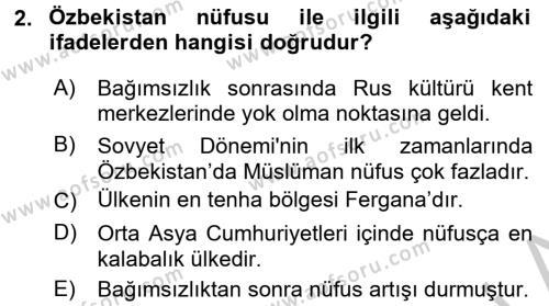 Çağdaş Türk Dünyası Dersi 2016 - 2017 Yılı 3 Ders Sınav Soruları 2. Soru