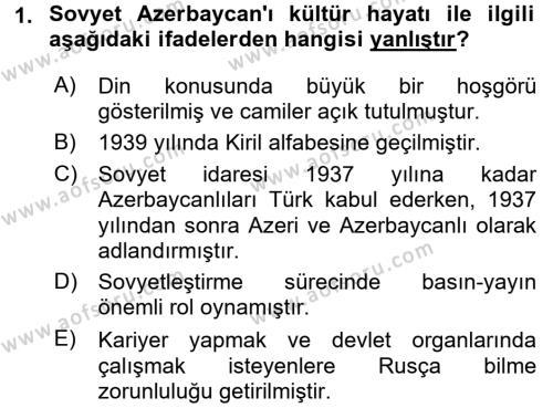 Çağdaş Türk Dünyası Dersi 2016 - 2017 Yılı (Final) Dönem Sonu Sınav Soruları 1. Soru