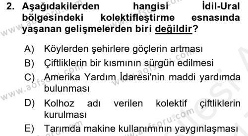 Çağdaş Türk Dünyası Dersi 2016 - 2017 Yılı (Final) Dönem Sonu Sınav Soruları 2. Soru