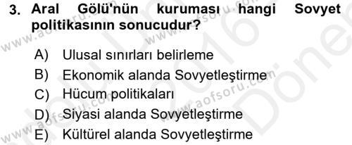 Çağdaş Türk Dünyası Dersi 2016 - 2017 Yılı (Final) Dönem Sonu Sınav Soruları 3. Soru